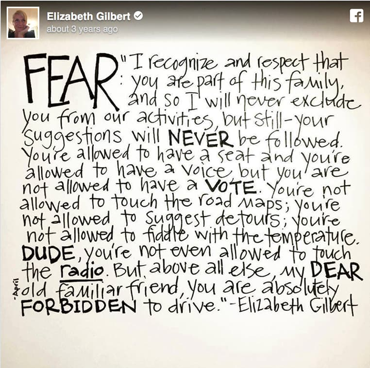 Elizabeth Gilberts Facebook post on her letter to fear