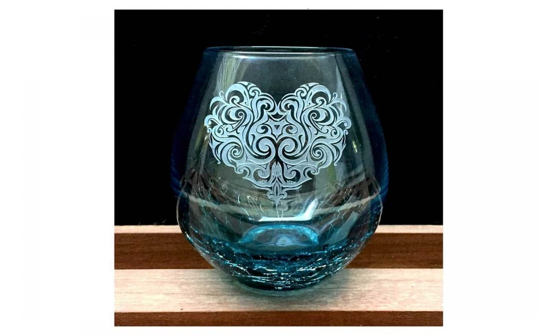 Integrity Bottles Crackle Teal Stemless Wine Glass, Hand Etched Tribal Heart Design, Sand Carved