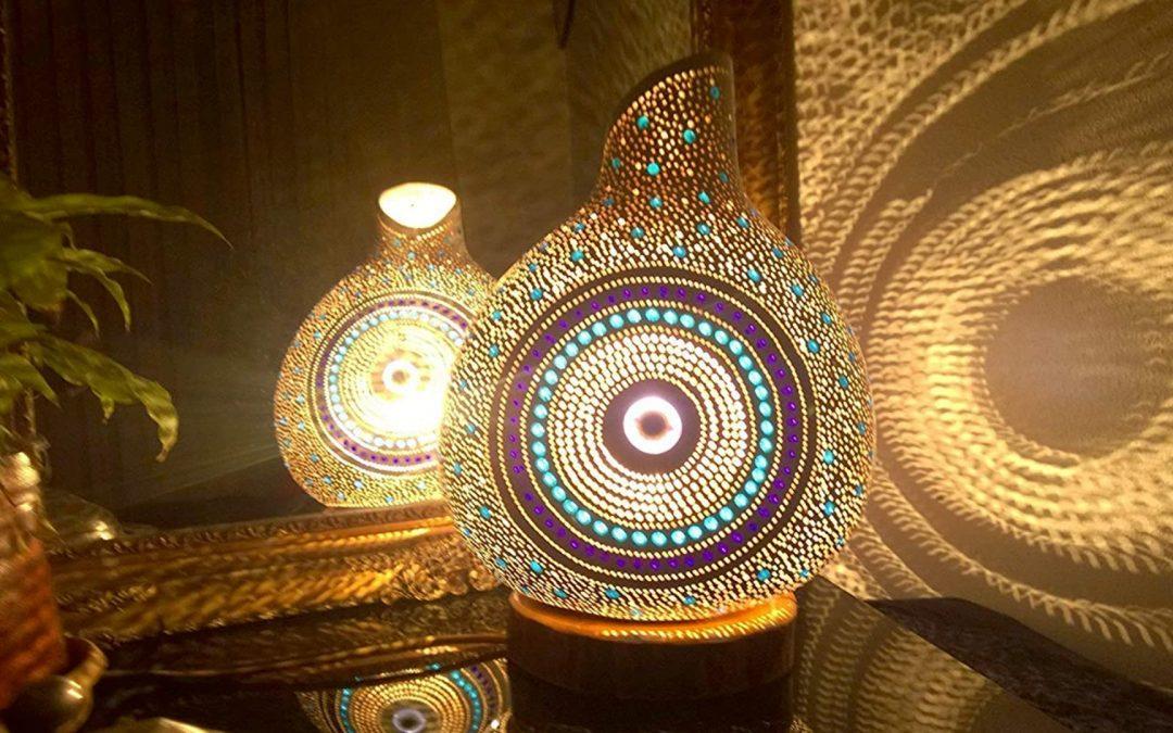 gourd lamp lit