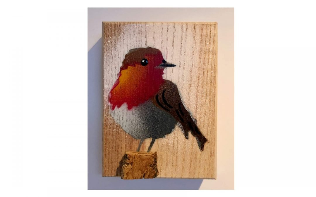 Stenciled Robin on Wood