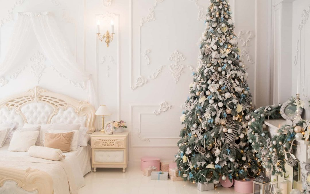 Christmas Tree in white bedroom