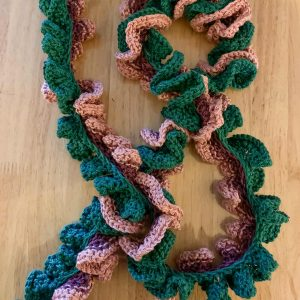 Hand Knitted Pink and Green Popcorn Scarf