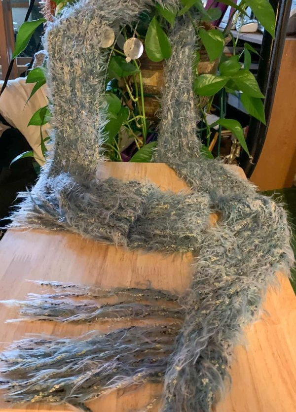 Hand Knitted Blue Fringy