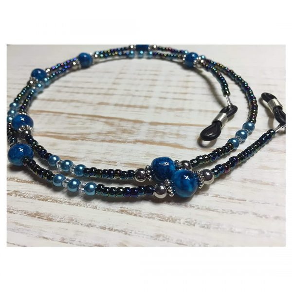Hand Crafted Blue Beaded Eyeglass Necklace