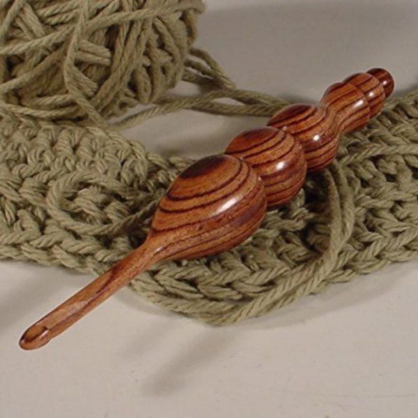 Hand Turned Exotic Kingwood Wooden Crochet Hook