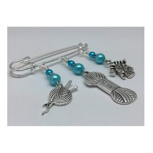 Knitters Beaded Kilt Pin Safety Pin Brooch