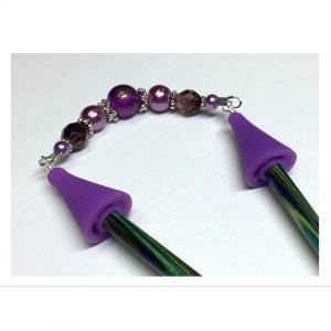 Purple Beaded Knitting Needle Jewelry- Point Protector