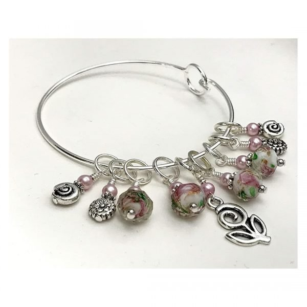 Flowers Stitch Marker Charm Bangle