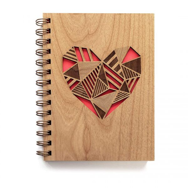 Patchwork Heart Laser Cut Wood Journal