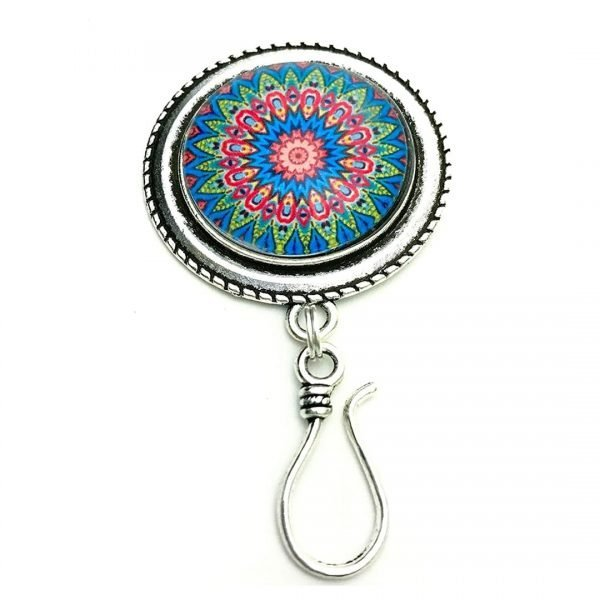 Mandala Portuguese Knitting Pin Brooch- ID Badge Holder