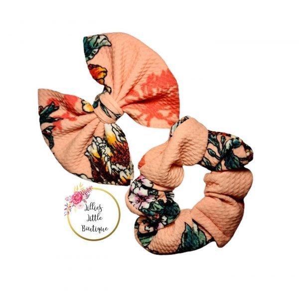 Peach Floral Bows