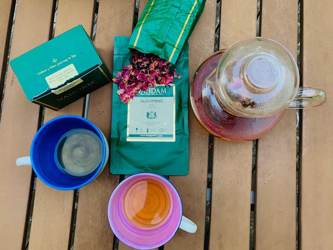 Flat lay of Vadham tea